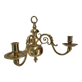 Pair of Vintage Virginia Metalcraft Brass Holders Dual Arm Wall Sconces For Sale