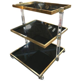 Italian Vintage Lucite and Brass Bar Cart, 1970s For Sale