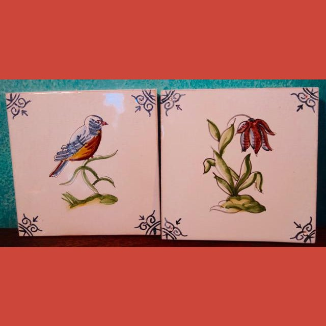 1940s 1940s Handpainted Spanish Tiles, Bird and Flower - a Pair For Sale - Image 5 of 5