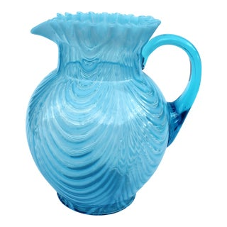 1920s Turquoise Opalescent Pitcher, Ruffled Geometric Swirl Pattern For Sale