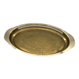 1980s Brass Etched Serving Tray by Rosemar For Sale