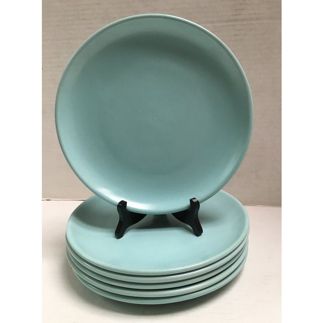 Mid Century Aqua Pottery Plates - Set of 6 - Image 2 of 8