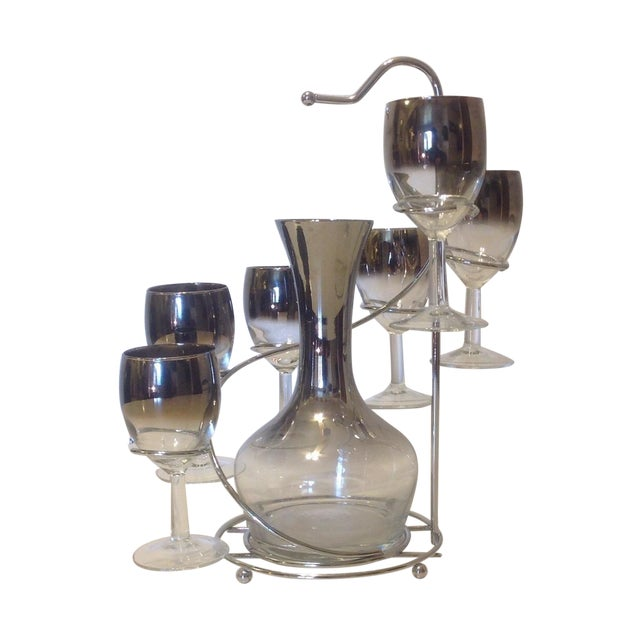 7-Piece Silver Ombre Spiral Decanter Set For Sale