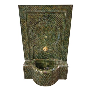 Tamegroute Green Moroccan Mosaic Tile Fountain For Sale