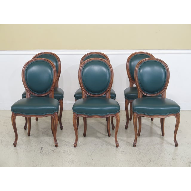 1990s Vintage Green Leather French Style Dining Room Chairs- Set of 6 For Sale - Image 11 of 11