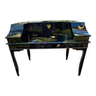 Black Lacquered Painted Curved Piano Shape Desk and Chair For Sale