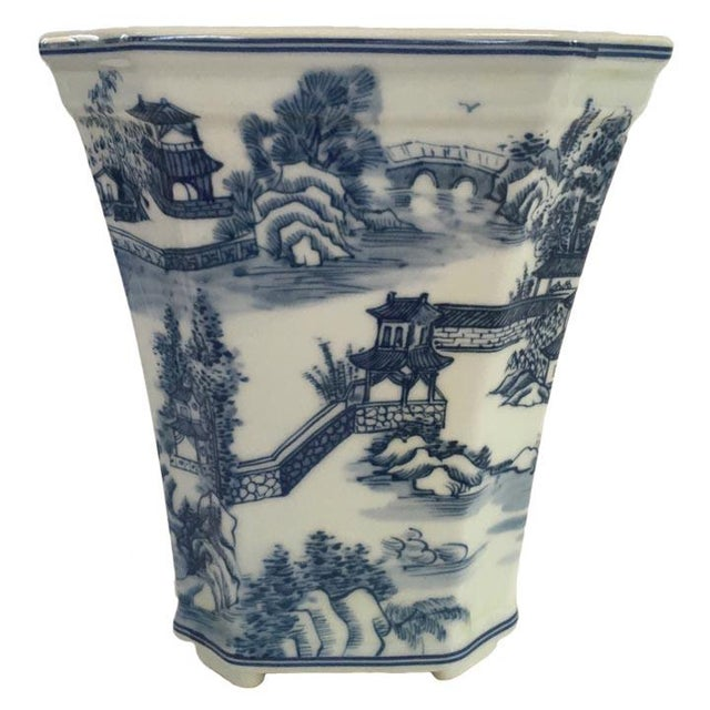 Blue & White Chinoiserie Porcelain Cachepot Planter For Sale - Image 4 of 5