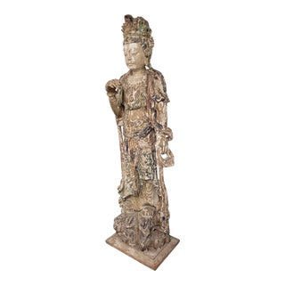 Late Ming Dynasty Monumental Chinese Carved and Painted Quan Yin Figure 17th C. For Sale
