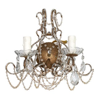 1940s Vintage Beaded Crystal Sconce For Sale