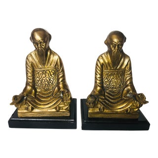 Chinese Praying Monk Brass Bookends - a Pair For Sale