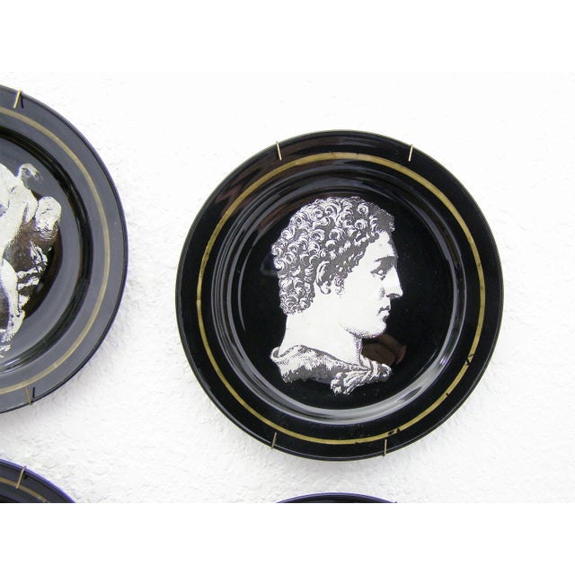 Fornasetti Style Neoclassical Black Glass Wall Plates - Set of 6 Mid-Century Modern MCM - Image 9 of 11