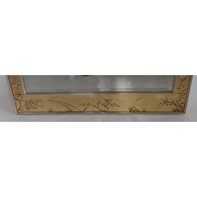 """La Barge Chinoiserie reverse hand painted eglomise gold leaf mirror. Nice large size 38"""" X 43"""". Excellent condition."""