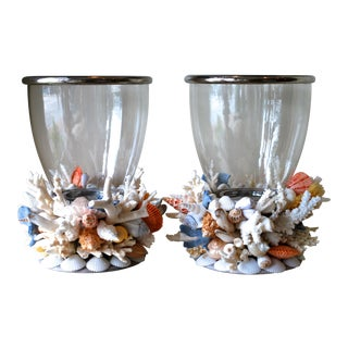 Large Seashell and Coral Hurricane Lanterns - a Pair