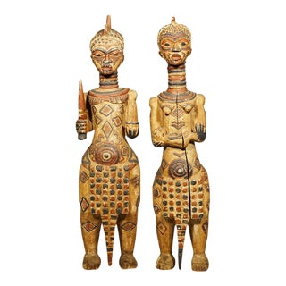 Bena Lulua African Sculptures - A Pair For Sale