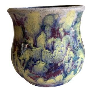 Marbled Glaze Vintage Pottery Vase or Planter For Sale