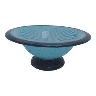 1970s Black and Blue Ribbed Art Glass Bowl For Sale
