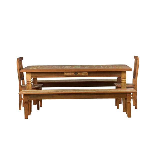 Reclaimed Wood Dining Bench For Sale - Image 4 of 6