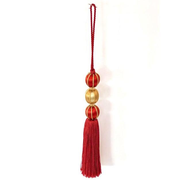 """Beaded Key Tassel in Red & Gold - 7.5"""" For Sale In New York - Image 6 of 8"""