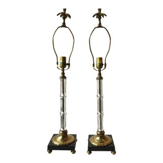 Pair 1970s Glass And Brass Faux Bamboo Table Lamps Signed Chapman - A Pair For Sale