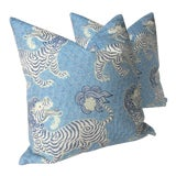 Image of Tibetan Dragon Chinoiserie Blue & White Pillows - a Pair For Sale