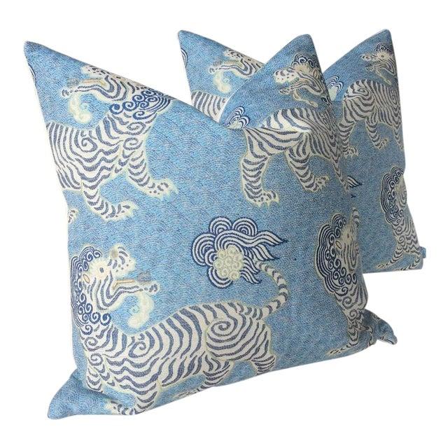Tibetan Dragon Chinoiserie Blue & White Pillows - a Pair For Sale