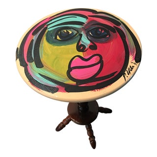 1970s Abstract Peter Keil Fauvist Painted Table For Sale