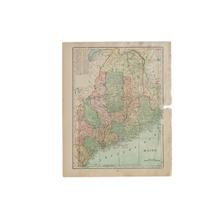 Cram's 1907 Map of Maine For Sale