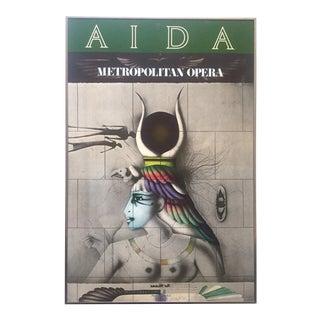 "Vintage 1978 "" Aida "" Metropolitan Opera Paul Wunderlich Original Lithograph Print Framed Poster"