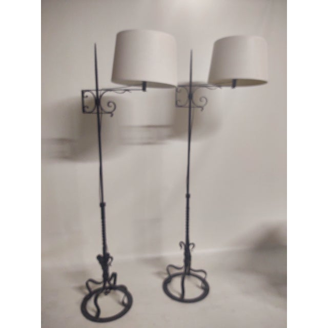 Spanish Hand Wrought Floor Lamps- a Pair For Sale - Image 10 of 13