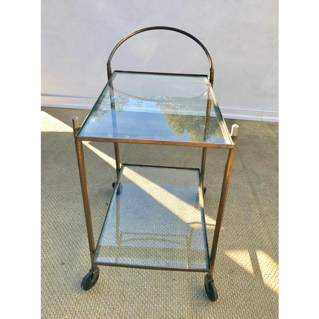 Vintage Brass Bar Cart For Sale - Image 6 of 10