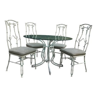 1960s Mid-Century Modern Kessler Industries Cast Aluminum Faux Bamboo Dining Set - 5 Piece Set For Sale
