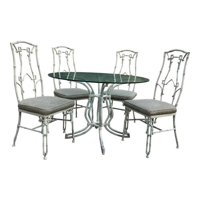 1960s Mid-Century Modern Kessler Industries Cast Aluminum Faux Bamboo Dining Set - 5 Piece Set For Sale