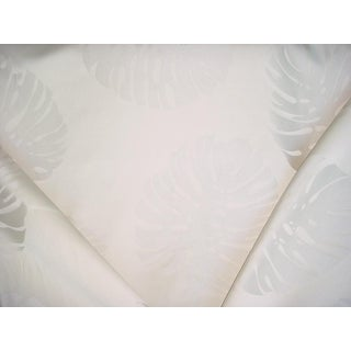 Valdese 1801 F-C003276 Pearl Monsterra Leaf Damask Drapery/ Upholstery Fabric - 14-1/4y For Sale