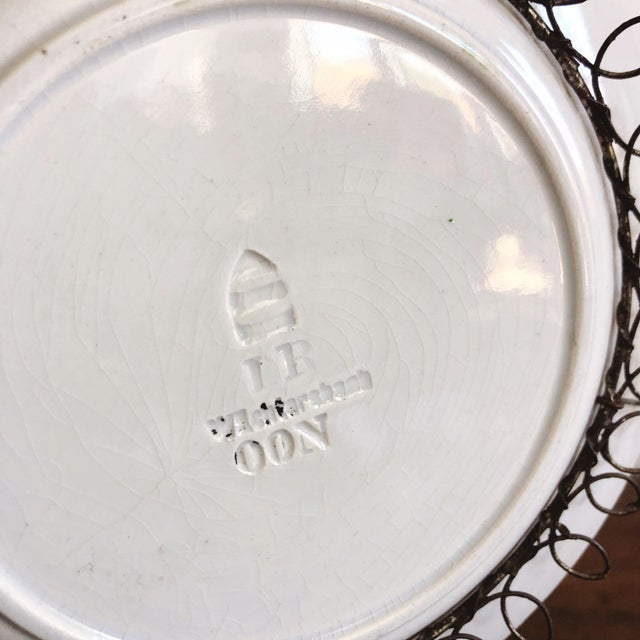 Antique Majolica Plate in Wire Bowl For Sale In Austin - Image 6 of 8