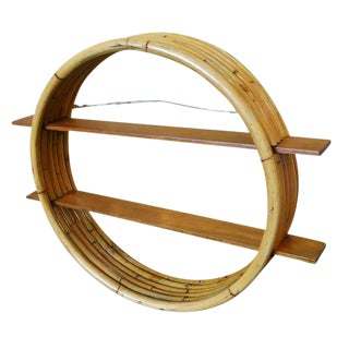 Midcentury Circular Rattan Wall Shelf With Mahogany Slat For Sale