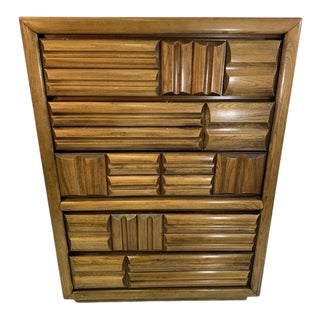 Lane Brutalist Chest of Drawers For Sale