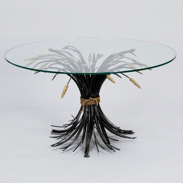 Mid-Century Modern Italian Black and Gilt Wheat Sheaf Table With Glass Top For Sale - Image 3 of 8