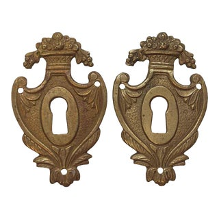 Victorian Brass Pair of Keyhole Covers For Sale