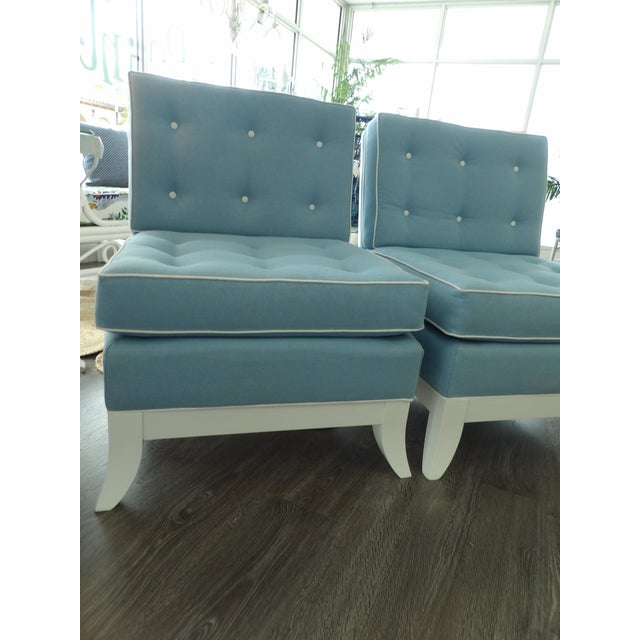 Light Blue Slipper Chairs - a Pair For Sale - Image 4 of 7