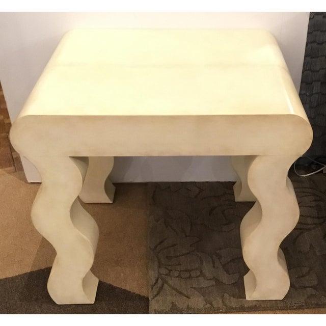 Stylish Henredon modern ivory leather wrapped curvy side table, showroom floor sample, original retail $2860