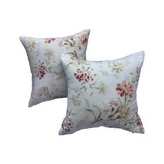 French Faded Floral Pillows - Pair For Sale