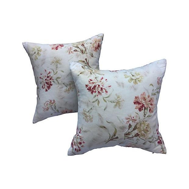 French Faded Floral Pillows - Pair - Image 1 of 5