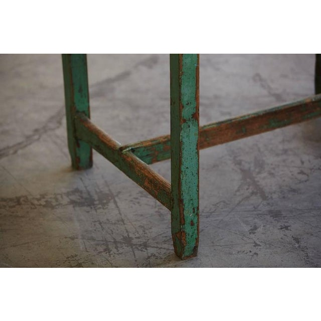 19th Century Primitive Painted Dough Farm Table with Large Drawer For Sale - Image 9 of 9