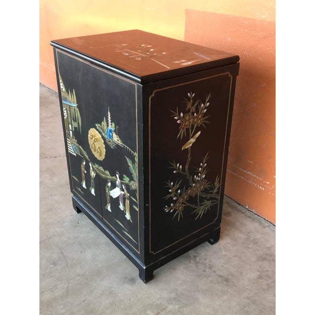 Asian Chinese Lacquer Bar Cabinet For Sale - Image 3 of 7