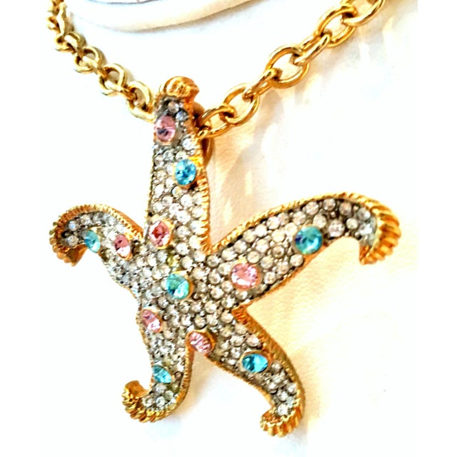 21st Century K. Lane Gold & Swarovski Crystal Starfish Pendant Necklace For Sale In West Palm - Image 6 of 10