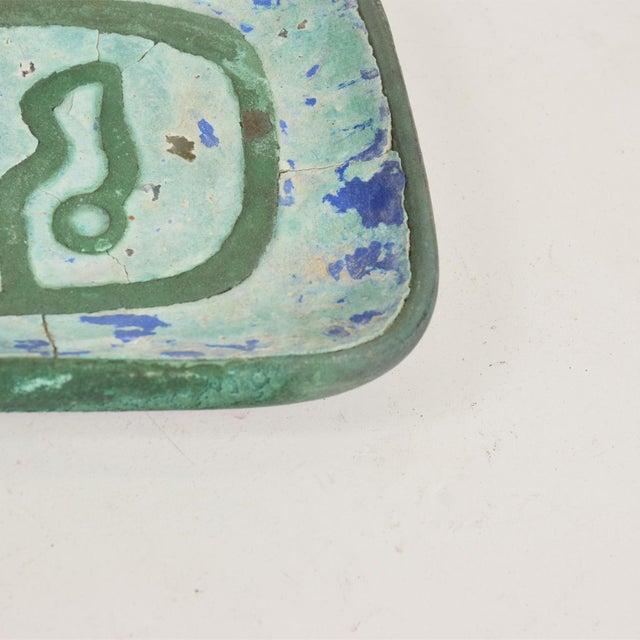 Mid-Century Modern Mid Century Modern Pepe Mendoza Dish, Patinated Brass & Malachite For Sale - Image 3 of 7
