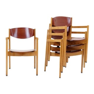 Set of Four Jens Risom Stacking Chairs, Dining Height For Sale