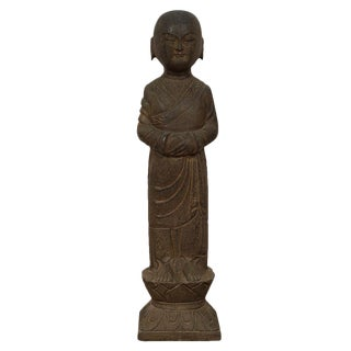Vintage Chinese Antique Stone Buddhist Monk Lohan Statue For Sale