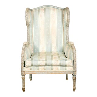 19th Century Louis XVI Style Painted Bergère à Oreilles Chair For Sale