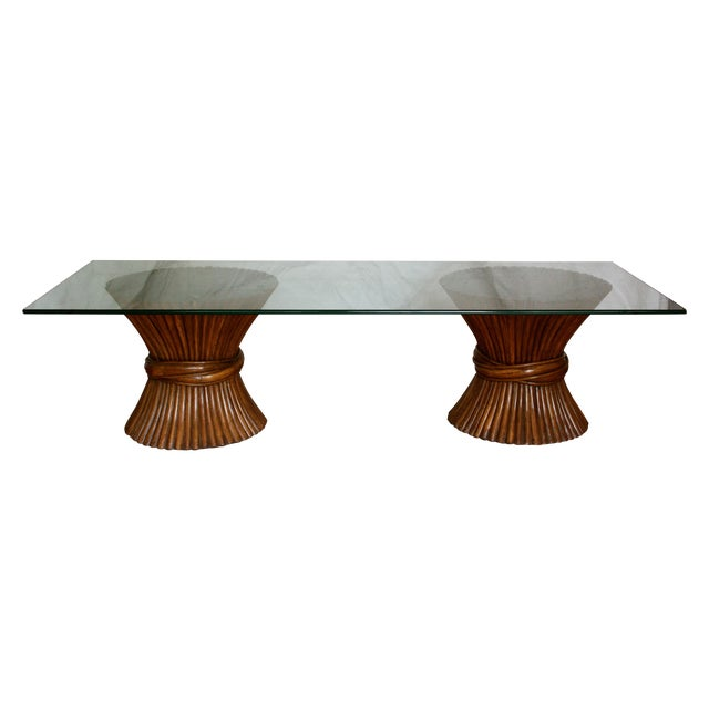 Midcentury Rattan Sheaf Glass Top Coffee Table - Image 1 of 4
